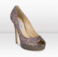 CROWN New for Cruise these platform peep-toe pumps are now available in multi-colour glitter. Hot Shoes, Pump Shoes, Shoe Boots, Zapatos Peep Toe, Peep Toe Pumps, Sparkly Shoes, Fancy Shoes, Jimmy Choo Shoes, Wedding Shoes