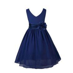 YiZYiF Blumenmaedchenkleider Kinder Mädchen Prinzessin Kleid für Brautjungfern Hochzeits Chiffon Sommer Festzug Marineblau 116