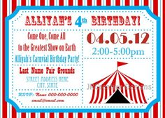 Carnival themes birthday party invite