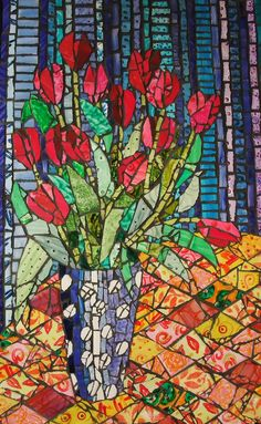 I can see how the artist used differing tiles to illustrate the vertical and horizontal angles. Paper Mosaic, Mosaic Crafts, Mosaic Projects, Mosaic Wall, Mosaic Glass, Mosaic Tiles, Mosaic Mirrors, Mosaic Designs, Mosaic Patterns
