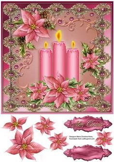 Pink Candles Christmas Decor 8x8 on Craftsuprint designed by Maria Christina Vieira  - Christmas decoration card front with 3 pink candles and pink poinsettias.approx.8x8 - Now available for download!