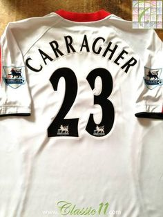 Official Reebok Liverpool away football shirt from the 2005/06 season. Complete with Carragher #23 on the back of the shirt in official Lextra Premier League lettering.