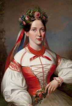 Polish Costumes: costume from Kraków, Poland on the painting by Marcin Jabłoński Folk Costume, Costume Dress, Costumes, Polish Clothing, Polish Folk Art, Portraits, Traditional Dresses, Female Art, 19th Century