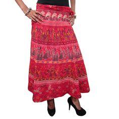 Mogulinterior Hippy Wrap Skirt Red Cotton Printed Beach Wrap Around Skirt Open Waist