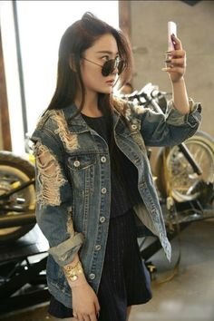 87c94893b4dc Aliexpress.com   Buy Clearance vintage chaquetas mujer ripped distressed  jeans jackes women veste en jean femme oversized boyfriend denim jacket  from ...