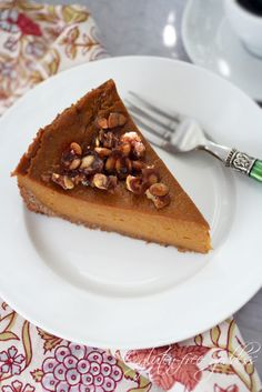 Vegan pumpkin pie with praline and coconut pecan crust - not paleo but you've gotta live a little sometimes