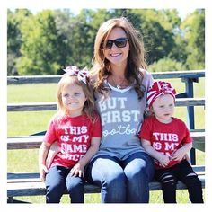 They are ready for college football in their •BUT FIRST, FOOTBALL + THIS IS MY GAME FACE• shirts! Who's your team? We are Buckeyes fans over here! 🙌🏻❤️ • • • • • • #cutekidsclub #igfashion #kidzootd #instagram_kids #trendykiddies #babiesofinstagram #kidzfashion #kidslookbook #kids_stylezz #thechildrenoftheworld #igkiddies #disney #slay #parenthood #mommy #mommylife #mom #momlife #allmommedout #ohiostate #buckeyes #ilovefootball #clevelandbrowns #nfl #football