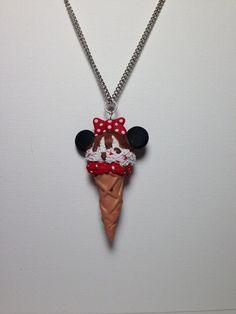 Disney Minnie Mouse ice cream polymer clay pendant esty. $8.00