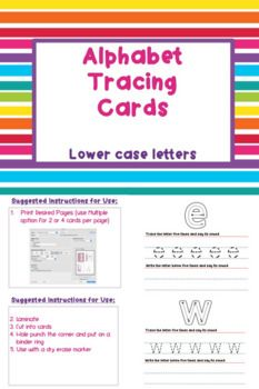 These tracing cards reinforce proper letter formation and provide opportunities for writing practice. Print these as large or small cards and laminate them to use with a dry or wet erase marker for a fun and reusable activity. Great for classroom or home use.
