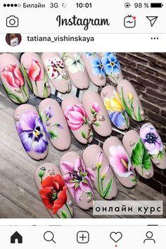 Pink Nails, My Nails, Art Deco Nails, Tropical Nail Designs, Nail Stencils, Painted Nail Art, Flower Nail Art, Dream Nails, Dope Nails