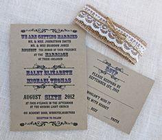 Handmade Rustic Kraft Burlap Wedding Invitation by LoveofCreating, $100.00