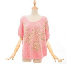 $19.23 Gold Thread Embroidered Mohair Color Matching Knitwear For Women