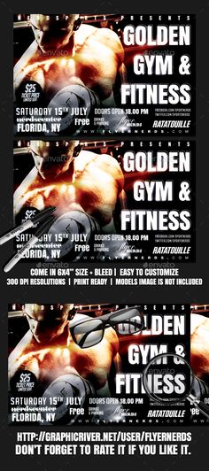 Golden Gymnasium And Fitness Sports Flyer