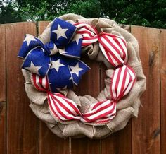 Patriotic/Burlap wreath, LOVE!!  -Bopsidoodle