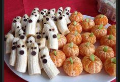 Banana ghosts and orange pumpkins