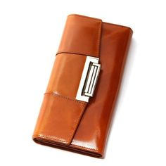 the best Oil Wax Cowhide Women Genuine Leather Wallet Ccarteira Feminina Fashion Vintage Long Hasp Pocket Women's Coin Purse Medium-Long Cowhide Leather, Cow Leather, Leather Clutch, Leather Bags, Envelope, Branded Wallets, Women's Wallets, Cheap Purses, Designer Wallets