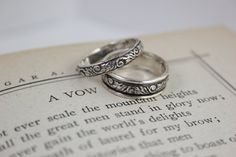 Tendril and Vine Wedding Band Set in Sterling Silver - matched set for both of us, or either one for me and the garnet/floral for N.?
