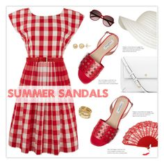 """""""The Cutest Summer Sandals"""" by marion-fashionista-diva-miller ❤ liked on Polyvore featuring Lowie, Gucci, Yves Saint Laurent, ABS by Allen Schwartz, Everlasting Gold, Tory Burch and summersandals"""