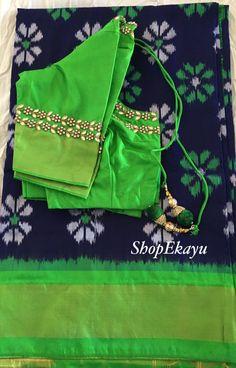 INDIA/PAKISTANI/BOLLYWOOD Party wear pure Ikkat silk Saree