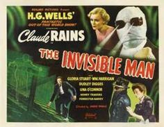 A movie poster for The Invisible Man (1933) starring Claude Rains and Gloria Stuart.