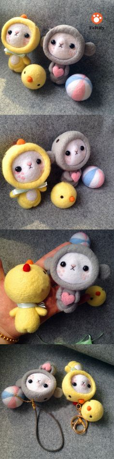 Handmade needle felted felting cute animal project chicken bear doll accessories toy
