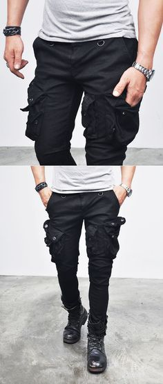 Bottoms :: Jeans :: Wax Coated Oil Cargo Skinny Jeans-Jeans 92 - Mens Fashion Clothing For An Attractive Guy Look