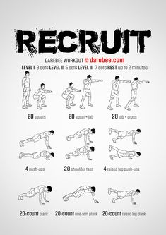 Recruit is a total body strength workout that recruits a lot of muscle groups at once.