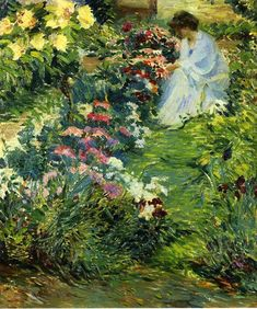 Woman in a Garden by John Leslie Breck, 1890, via Wikimedia Commons