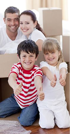 Family moving house with boxes and thumbs up. Happy family moving house with box , Moving House Boxes, Moving And Storage, Moving Day, Protecting Your Home, Indoor Air Quality, Home And Away, In Kindergarten, Custom Homes, Home And Family