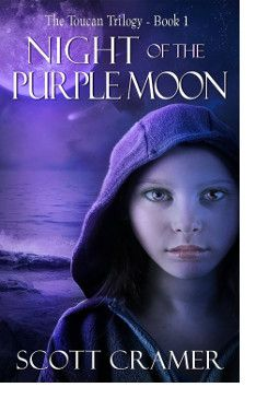 http://bookbarbarian.com/night-of-the-purple-moon-by-scott-cramer/ For Abby Leigh, a purple moon was just the beginning. . .  Dust from a passing comet turns the moon purple, but also carries a lethal pathogen that attacks the hormones produced during puberty. Within hours, adults are dead. Thirteen-year-old Abby must help her brother Jordan and baby sister Toucan survive in the new world.  Battling against hunger and violent gangs, Abby is helpless against the biggest th