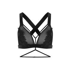 TopShop Floral Applique Triangle Bra (735 HNL) ❤ liked on Polyvore featuring intimates, bras, black, wired bra, cross strap bra, floral lingerie, lingerie bras and floral bra