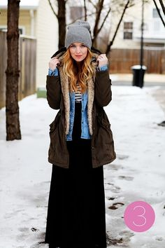 denim, parka and long skirt