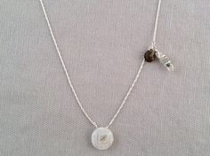 Handmade Necklace with Solar Qtz, Vessonite, Phantom Qtz point by Indiana Jewelry Artist, Amber Bryce.