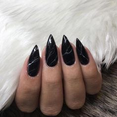 Marble nail art is a trend we can get behind. the way the design looks on Black stiletto nails. All hail vampy nails! Black Marble Nails, Black Stiletto Nails, Marble Nail Art, Matte Black, Black Dark, Dark Nail Art, Emo Nail Art, Dark Acrylic Nails, Dark Gel Nails
