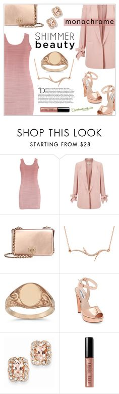 """Monochrome: Pink"" by applesofgoldjewelry ❤ liked on Polyvore featuring Miss Selfridge, Tory Burch, Balmain, Steve Madden, Bobbi Brown Cosmetics and Apples of Gold"