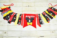 Mickey rag banner, mickey room decoration, first birthday banner, mickey photo prop, mickey party accessories, personalized mickey bunting by RYLOwear on Etsy