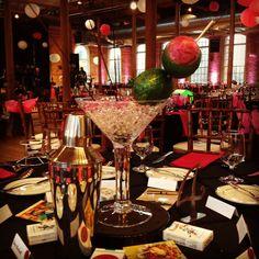 Oversized martini centerpieces with crystals and lighting www.thecottonroomdurham.com #triangleweddings
