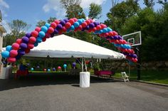 Balloon-themed child's one-year old birthday party.  Balloon Decor by Balloon Artistry and Tent Rental by Starr Tents (www.starrtent.com), both serving the tri-state area.