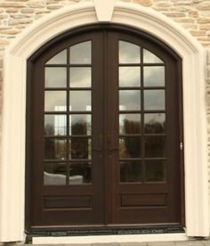 Hershey Hill arch top true divided lite mahogany double entry door - contemporary - Front Doors - Other Metro - M4L,Inc