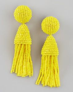I'm not a huge earring person but every now and then, I love stepping out wearing these! Beaded Short Tassel Earrings, Yellow by Oscar de la Renta at Bergdorf Goodman. Yellow Tassel Earrings, Beaded Tassel Earrings, Earrings Handmade, Tassel Earing, Beaded Necklaces, Fringe Earrings, Mellow Yellow, Clip On Earrings, Stud Earrings
