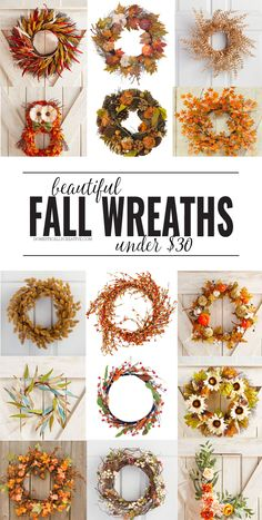 Adorning your door for Fall doesn't have to cost an arm and a leg. Check out the… Adorning your door for Fall doesn't have to cost an arm and a leg. Check out these beautiful and affordable Fall wreaths under… Continue Reading → Easy Fall Wreaths, Diy Fall Wreath, Wreath Crafts, Fall Diy, Holiday Wreaths, Decor Crafts, Yarn Wreaths, Ribbon Wreaths, Tulle Wreath