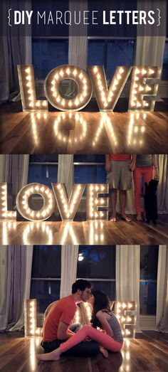 A beautiful diy tutorial for marquee letters and lights by an inspiring couple