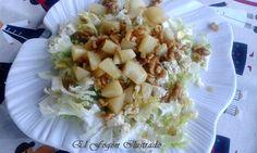 Ensalada de Escarola, peras y nueces con salsa de caramelo