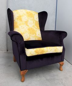 Brewster is a traditional wing back recovered in a vibrant yellow brocade with white chrysanthemums and paired with a luscious deep purple. Wingback Chair, Armchair, White Chrysanthemum, Deep Purple, Accent Chairs, Traditional, Image, Furniture, Home Decor