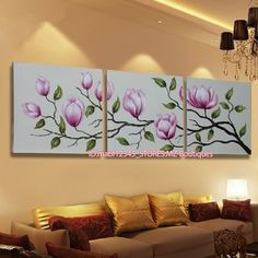 YH696 3pcs Hand painted Oil Canvas Wall Art home Decor abstract flowers NO Frame #ArtDeco
