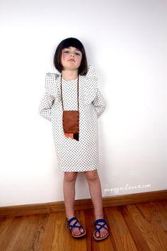 Poppy wearing Motoreta Frill Dress, Manimal Pouch Necklace & Theluto Strap Sandals // PoppysCloset.com #kids