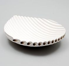"White glazed earthenware ""Unica"" bowl, built from 'tubes', design & execution by Esther Stasse (1968), in own studio, Amsterdam / the Netherlands 1998"