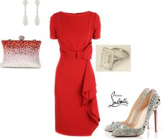 diamonds and red, created by aidachick on Polyvore