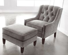 Cute Grey Merrill Ottoman With Chair From Fabric