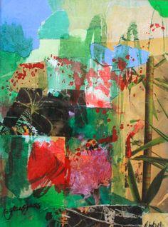 Oriental Green Collage multi media
